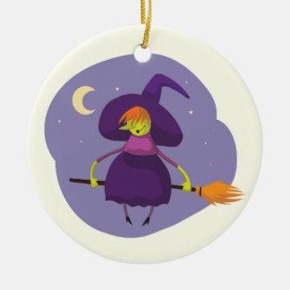 Vuelo amistoso de la bruja en niños de la escoba adorno de cerámica
