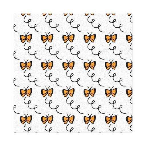 Vuelo anaranjado de la mariposa lona estirada galerías