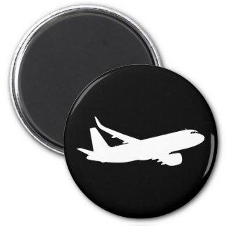 Vuelo de la silueta del avión de los aviones imán redondo 5 cm