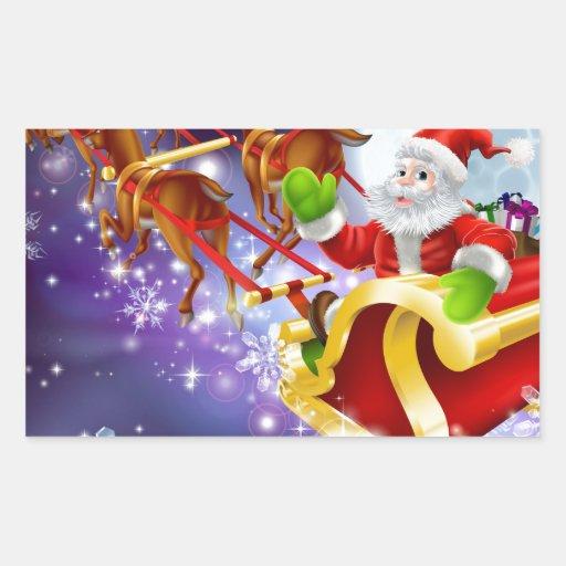 Vuelo de Santa del navidad en su trineo o trineo Rectangular Pegatinas