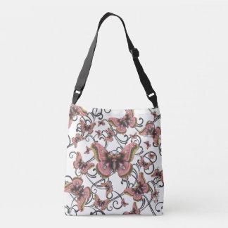 Vuelo del bolso rosado de Crossbody de la mariposa Bolsa Cruzada