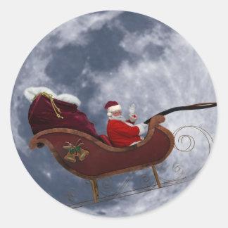 Vuelo del trineo de Santa por la luna Pegatinas