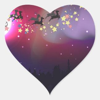 Vuelo Santa sobre la aurora Borealis Pegatina En Forma De Corazón
