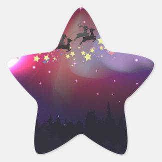 Vuelo Santa sobre la aurora Borealis Pegatina En Forma De Estrella
