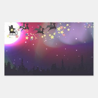 Vuelo Santa sobre la aurora Borealis Pegatina Rectangular