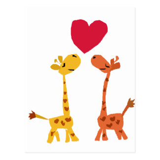 VW dibujo animado divertido del amor de la jirafa Postal
