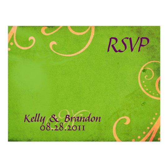 w/Orange verde texturizado remolina postal de RSVP