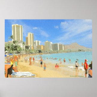 Waikiki Honolulu Hawaii - impresión de la bella