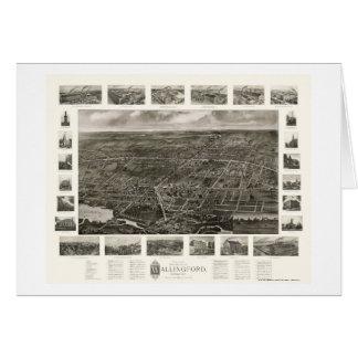Wallingford, mapa panorámico del CT - 1905 Felicitacion