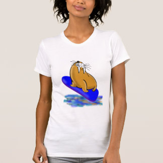 Wally la morsa va a practicar surf camisetas