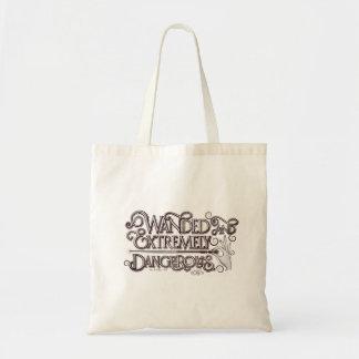 Wanded y gráfico extremadamente peligroso - blanco bolso de tela