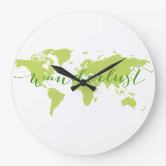 Wanderlust, mapa del mundo reloj redondo grande