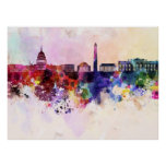 Washington DC skyline in watercolor background Posters