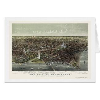 Washington mapa panorámico de DC - 1892 Felicitacion