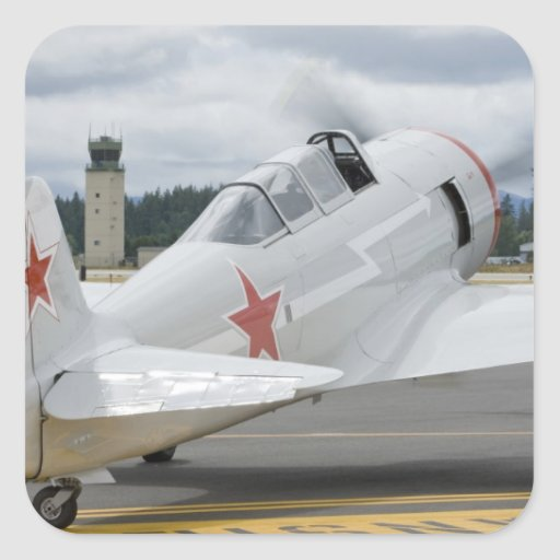 Washington, Olympia, airshow militar. 6 Calcomanías Cuadradas