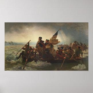Washington que cruza la pintura de Delaware Póster