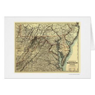 Washington y mapa atlántico 1883 del ferrocarril tarjeta de felicitación