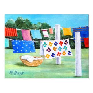 Washline de la abuela con la postal de la cesta de