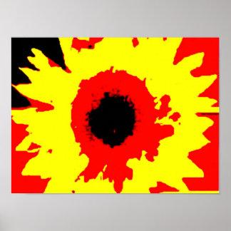 watercolour brillante del girasol del verano del póster