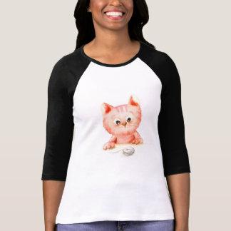 Watercolour: camiseta curiosa del gatito