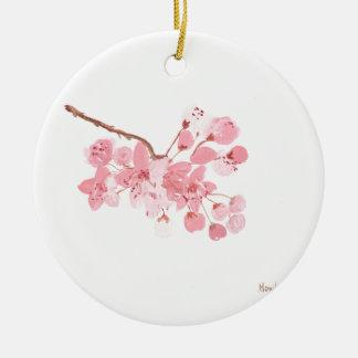 Watercolour de la original de la flor de cerezo adorno navideño redondo de cerámica