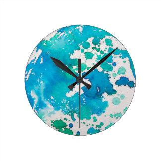 Watercolour de mármol azul del efecto de Splodged Reloj Redondo Mediano