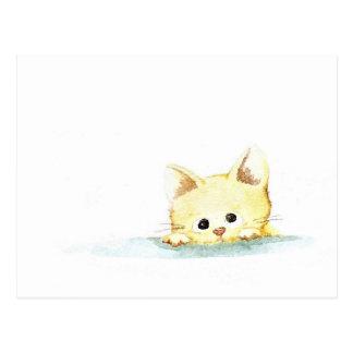 Watercolour: gatito culpable postal