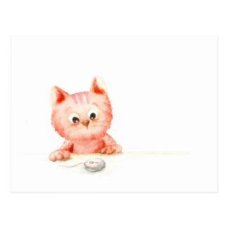 Watercolour: gatito curioso postal