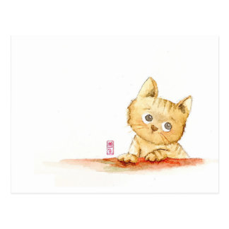 Watercolour: gatito triste postal