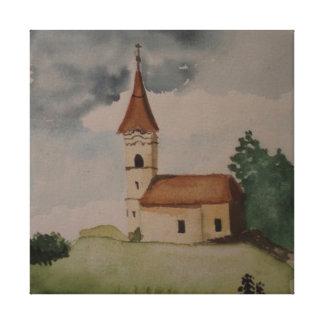 Watercolour inglés medieval de la iglesia lienzo