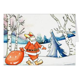 Watercolour: tarjeta de Navidad de Papá Noel del