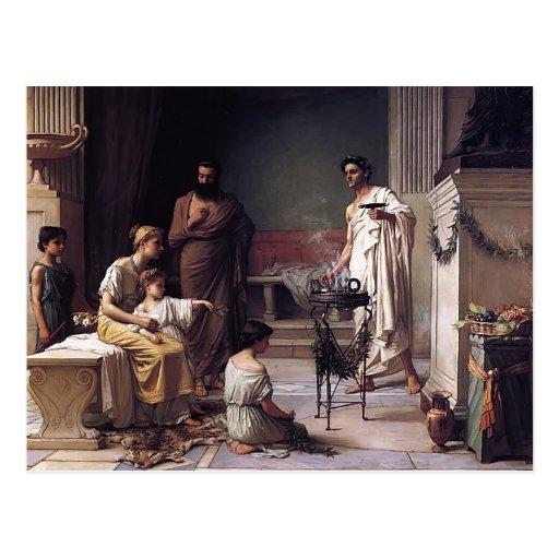 Waterhouse-Visita de Juan de un niño enfermo al te Tarjeta Postal