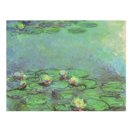 Waterlilies de Monet, impresionismo floral del vin Tarjetas Postales