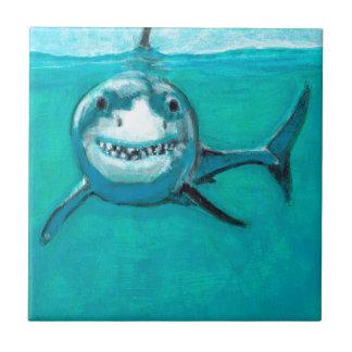 """""""Wayne"""" el gran tiburón blanco Azulejo De Cerámica"""