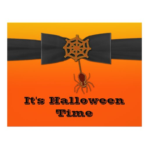 Web de araña anaranjado y negro de Bling Tarjeton