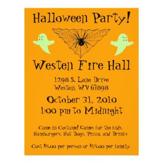 Web de araña y fiesta de Halloween del fantasma Folleto 21,6 X 28 Cm