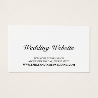 Web site blanco y negro elegante del boda tarjeta de visita