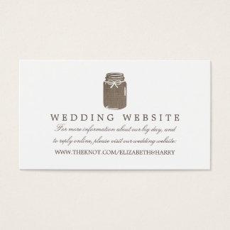 Web site rústico del boda del tarro de albañil de tarjeta de negocios