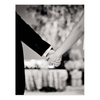Wedding couple bride groom holding hands back and postal