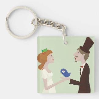 Wedding green llavero cuadrado acrílico a una cara