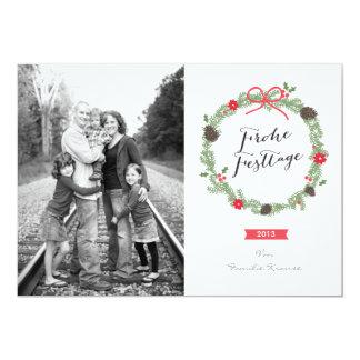 Weihnachten Kranz Foto-Karte Invitación 12,7 X 17,8 Cm