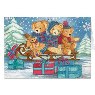 Weihnachts osito de peluche en trineos con regalos tarjeta de felicitación