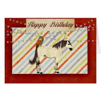 White Horse & Owl Birthday Card