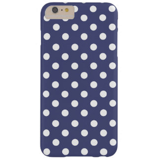 White polka dots in blue funda barely there iPhone 6 plus