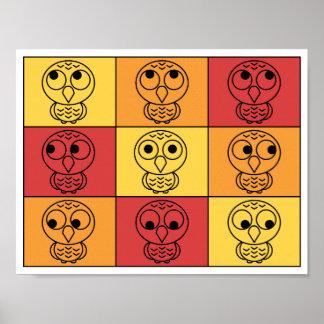 ¿Whoo, yo? Colores calientes a cuadros del búho Póster