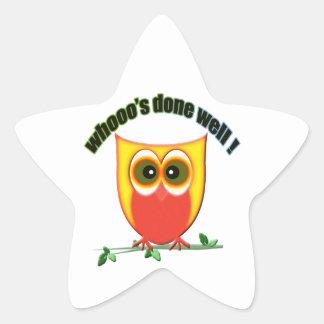 whooo hechos bien, búho lindo pegatinas forma de estrellaes personalizadas