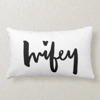 Wifey - negro de la almohada de las letras del