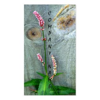 Wildflower de madera del rosa de la cerca tarjetas de visita
