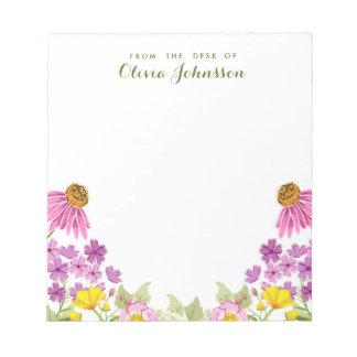 Wildflower del escritorio de la primavera floral bloc de notas