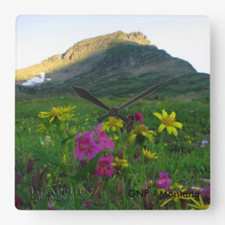 Wildflowers cuadrados del Parque Nacional Glacier Reloj Cuadrado